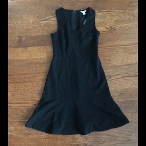 Banana Republic Black Ponte Flounce Dress Sz 0